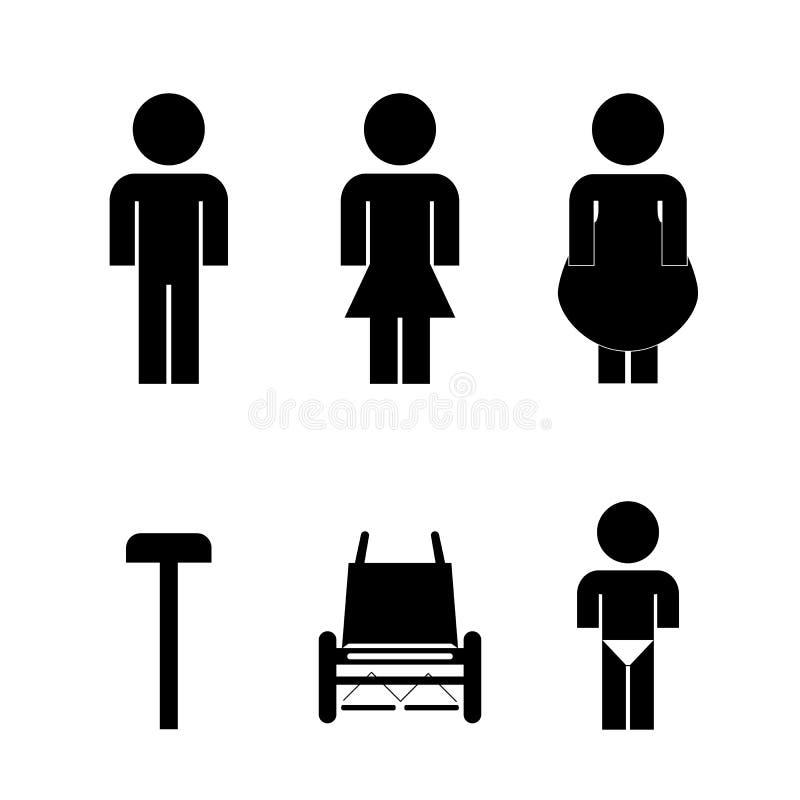 Vectors icon toilet symbol signs royalty free illustration
