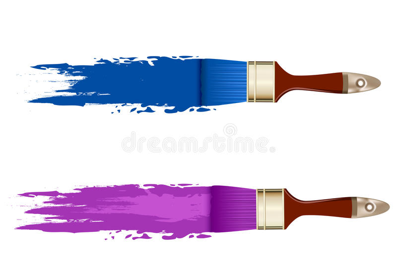 Vectors set, banner with brushes royalty free illustration