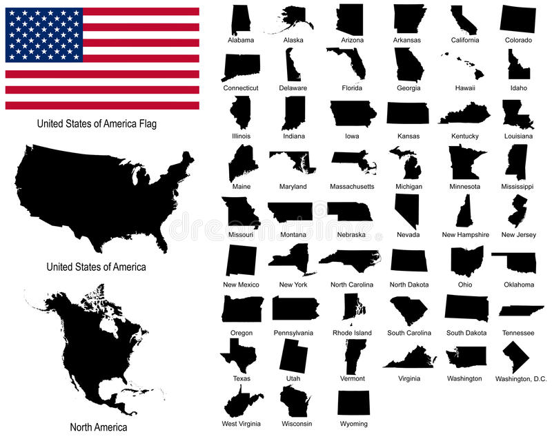 Vectors of USA states vector illustration