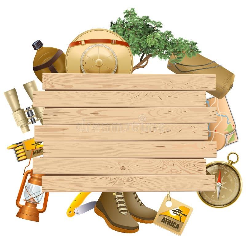 Vectorsafari concept met Gele Plank stock illustratie