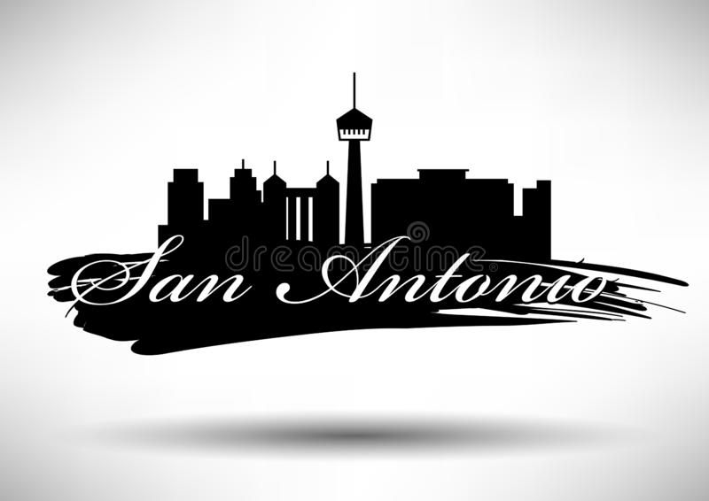 Vectorsan Antonio City Skyline Design stock illustratie