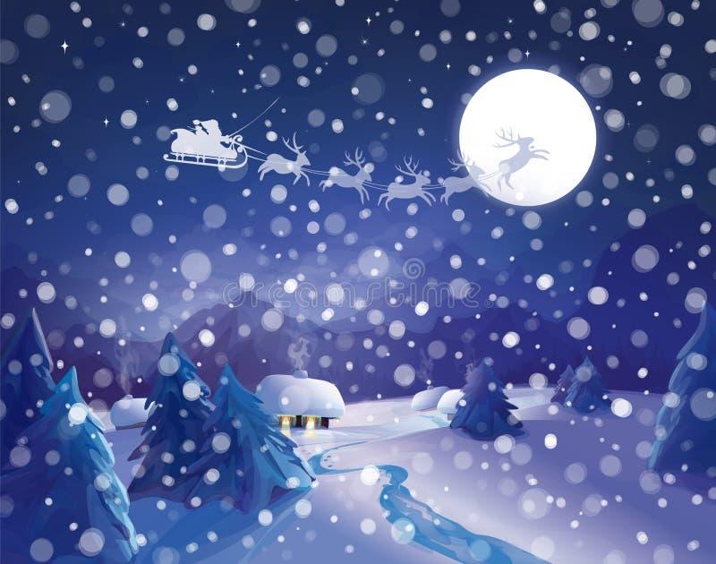 Vectorsanta claus sleigh op hemelachtergrond, de scène van de de winternacht vector illustratie