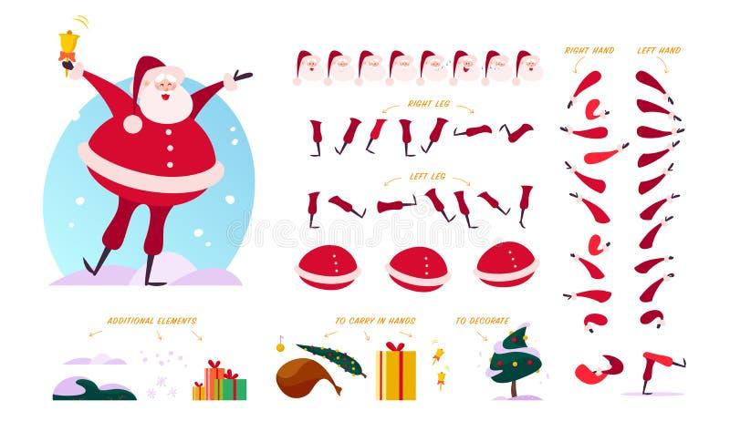 Vectorsanta claus-verschillende karakterschepper - stelt, gebaren, emoties, vakantieelementen royalty-vrije illustratie