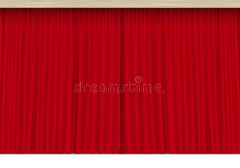 Vectorscène met Geïsoleerde Rode Gordijnen stock illustratie
