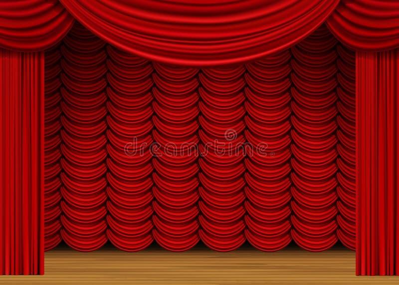 Vectorscène met Rode Gordijnen en Houten Vloer stock illustratie