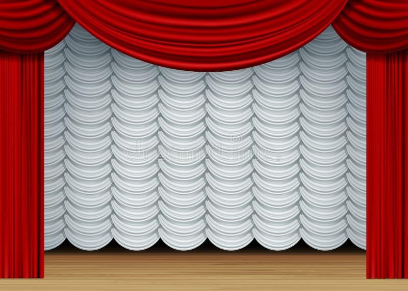 Vectorscène met Witte en Rode Gordijnen stock illustratie