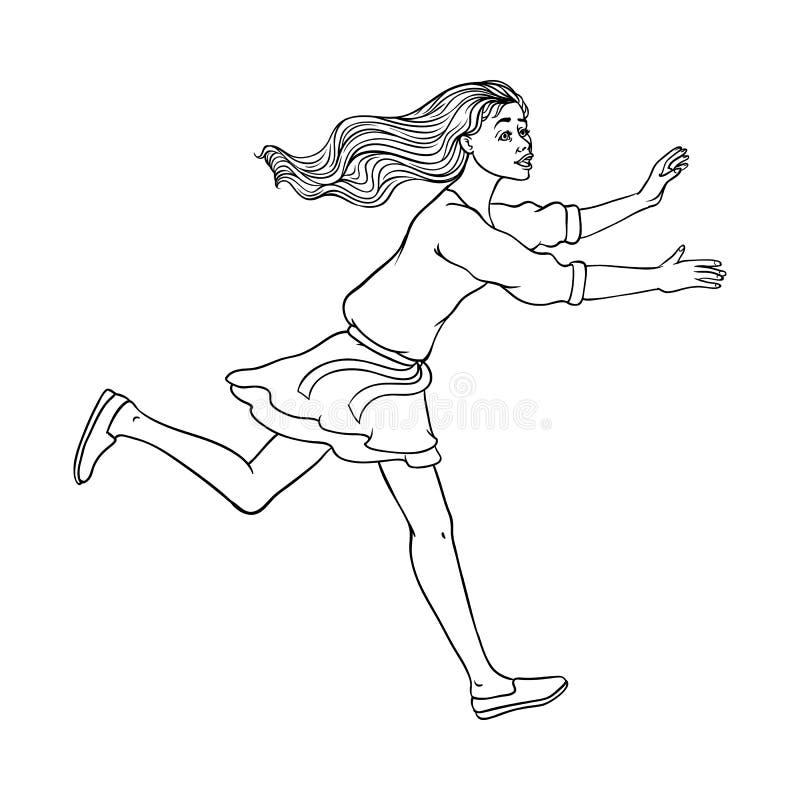 Vectorschets lopende mens, ranaway karakter royalty-vrije illustratie