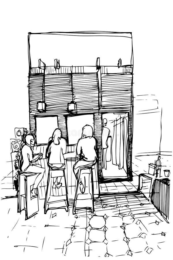 Vectorschets van drie vrouwen op de hoge krukken die koffie drinken vector illustratie