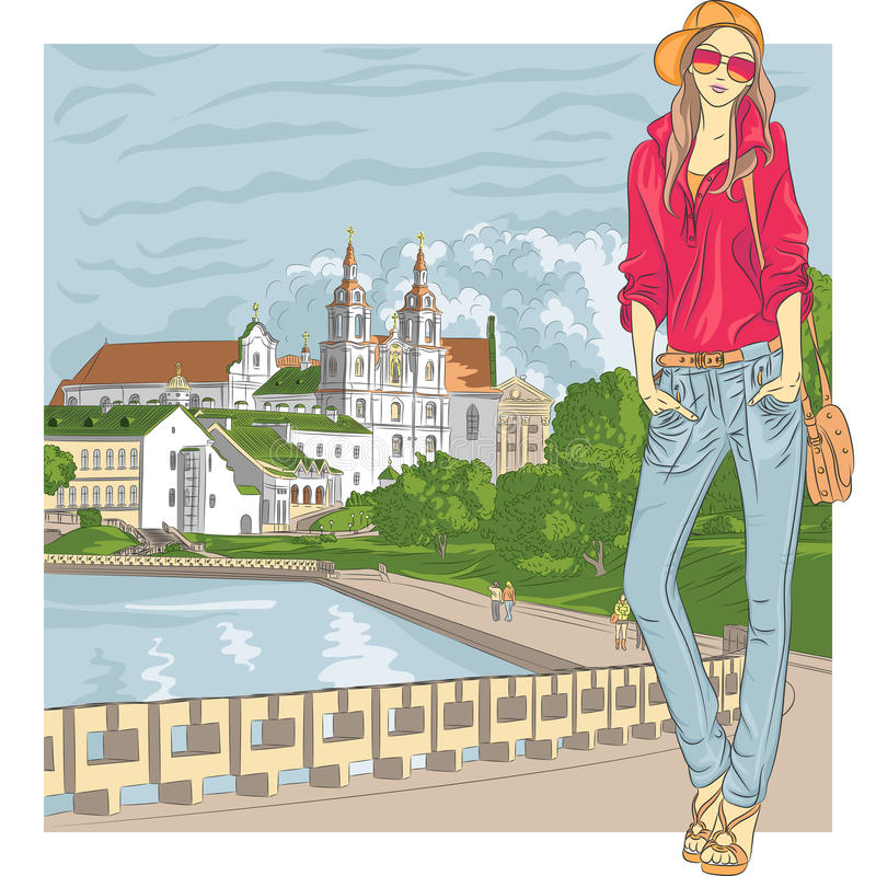 Vectorschets van een manier modieus meisje in de oude stad stock illustratie