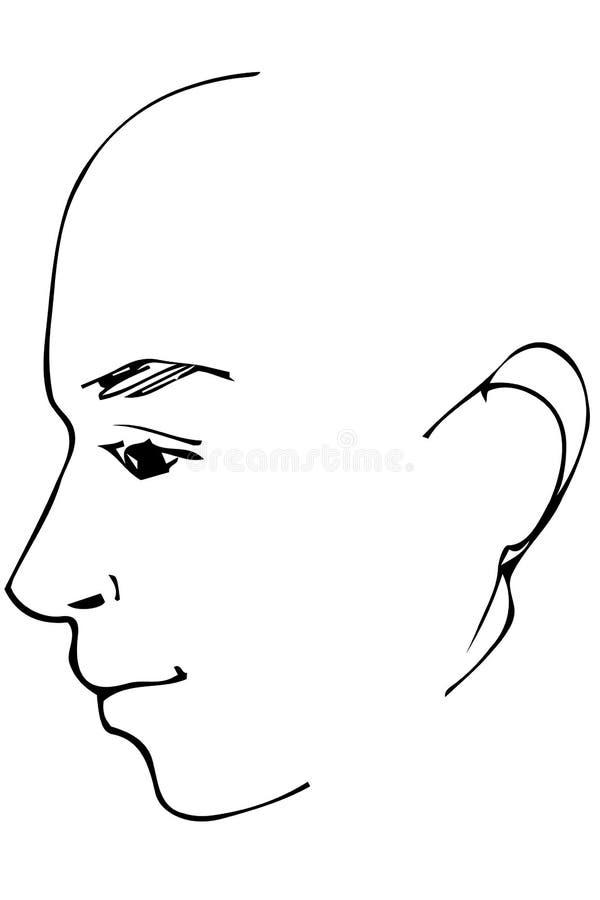 Vectorschets van een mooi mensenprofiel vector illustratie