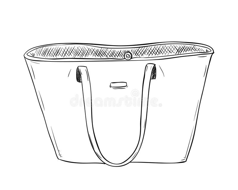 Vectorschets van ledieshandtas stock illustratie