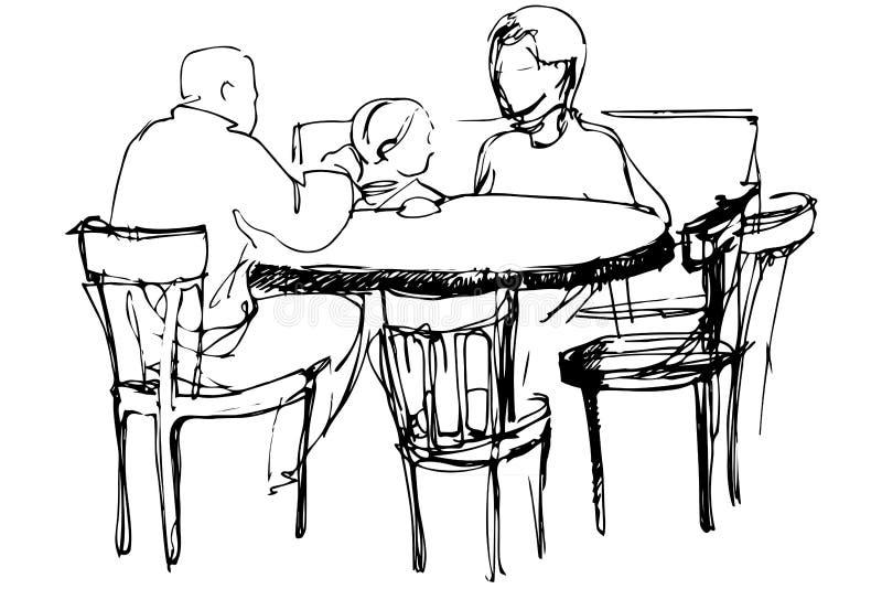 Vectorschets van vader en moeder met haar dochter bij een lijst royalty-vrije illustratie