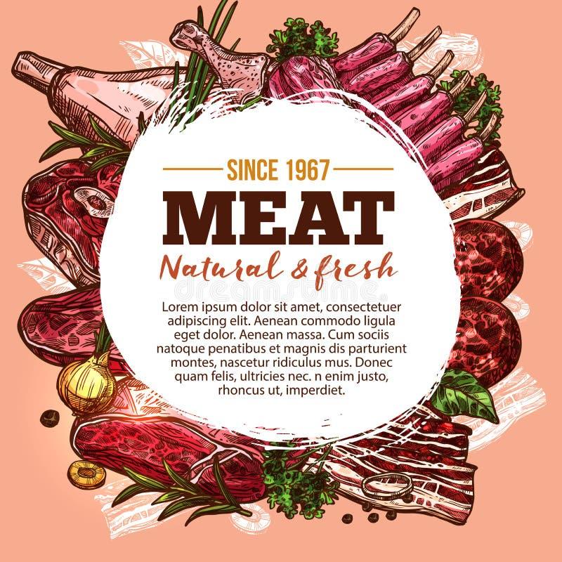 Vectorschetsaffiche voor de delicatessen van het vleeshuis royalty-vrije illustratie