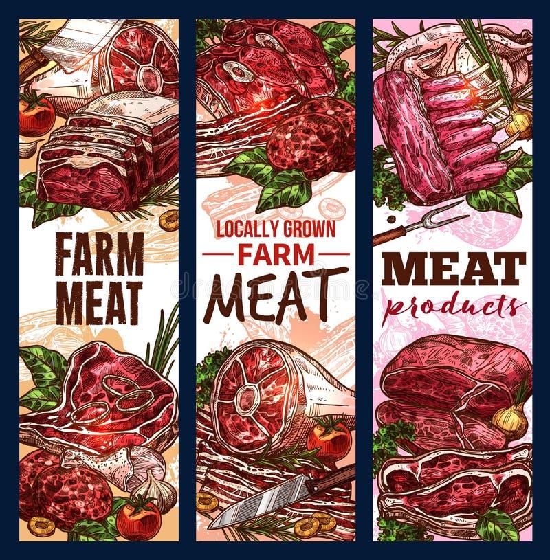 Vectorschetsbanners van vleeslapjes vlees en lendestukken vector illustratie