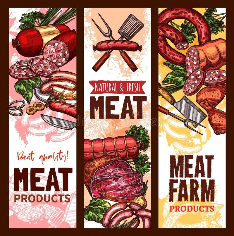 Vectorschetsbanners voor vlees landbouwproducten vector illustratie
