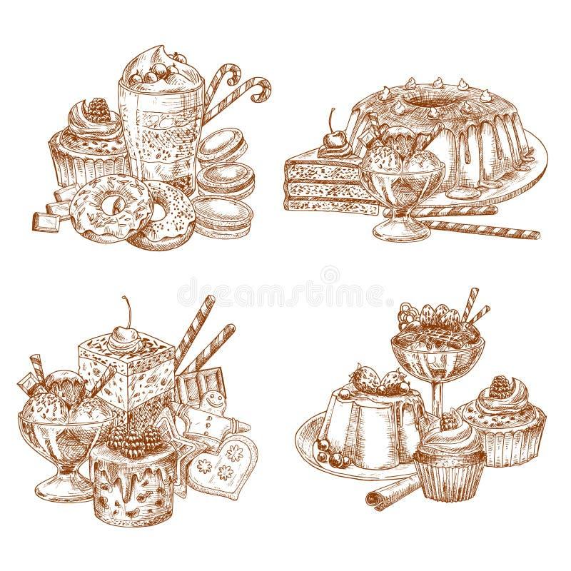 Vectorschetsdesserts en gebakje voor bakkerijwinkel royalty-vrije illustratie