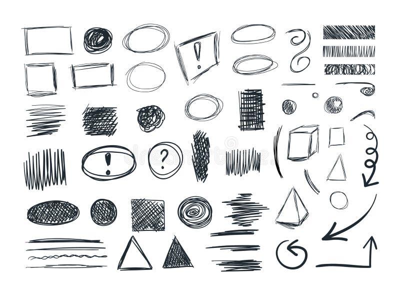 VECTORschetseninzameling, Sketchbook-Krabbeltekeningen, Reeks vector illustratie