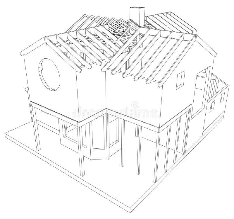 Vectorschetshuis op de witte achtergrond Eps 10 Vector van 3d wordt gecreeerd die vector illustratie