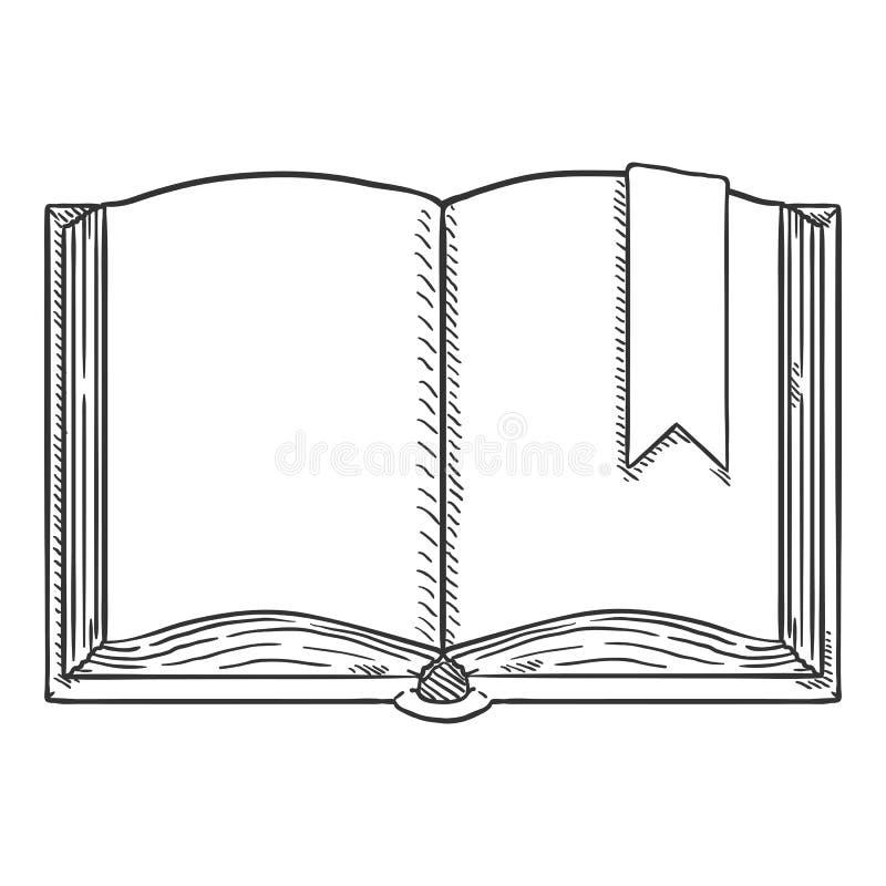 Vectorschetsillustratie - Open Boek met Referentie royalty-vrije illustratie