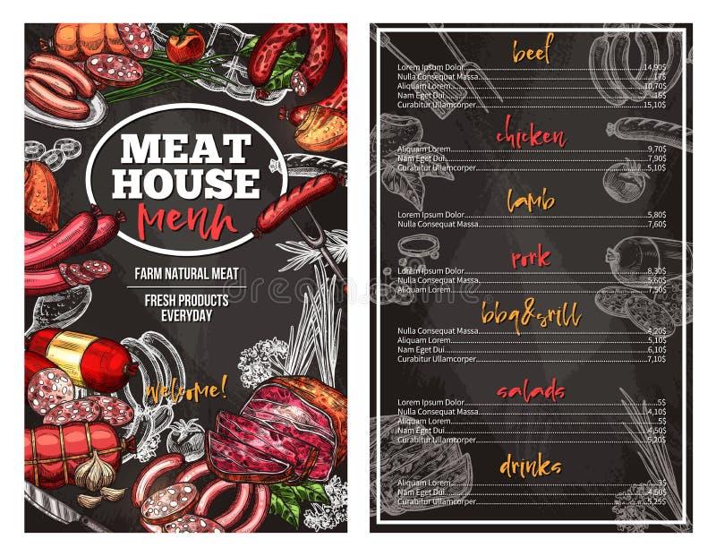 Vectorschetsmenu voor de delicatessen van het vleeshuis stock illustratie