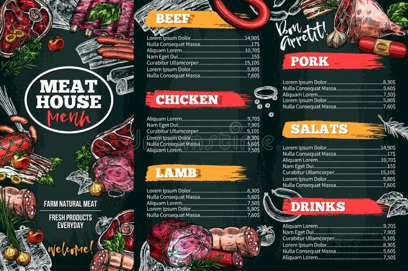 Vectorschetsmenu voor vleesrestaurant royalty-vrije illustratie