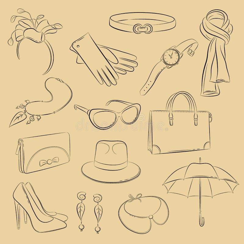 Vectorschetsreeks Inzameling van realistische modieuze toebehoren: Sjaal, zak, beurs, handschoenen, paraplu, haarband, halsband,  vector illustratie