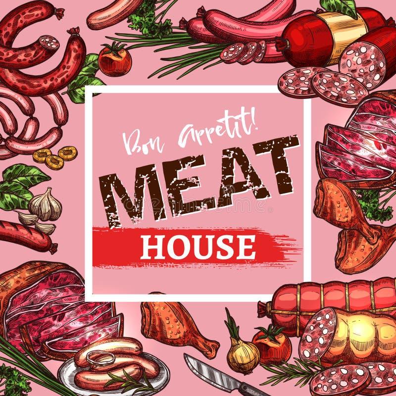Vectorschetsworsten en vleesdelicatessen vector illustratie