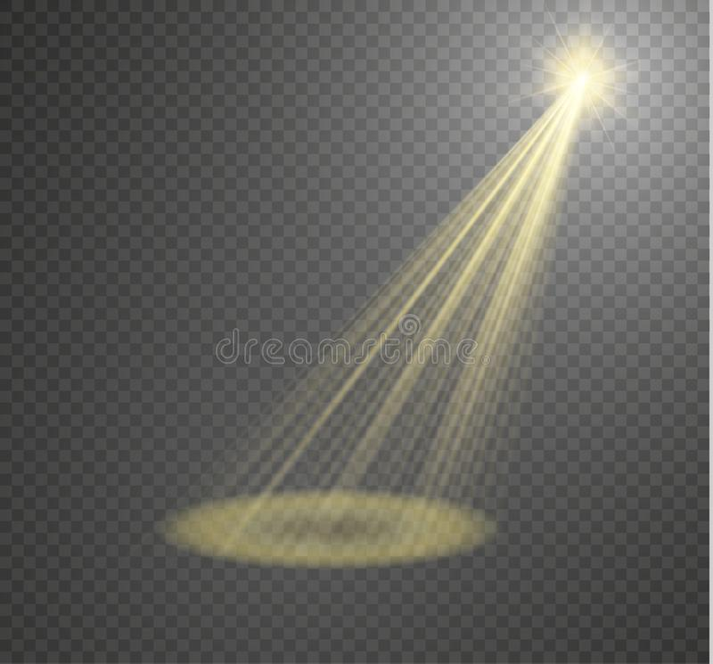 Vectorschijnwerper Lichte die effectlightstraal op transparante achtergrond wordt geïsoleerd Vector illustratie vector illustratie