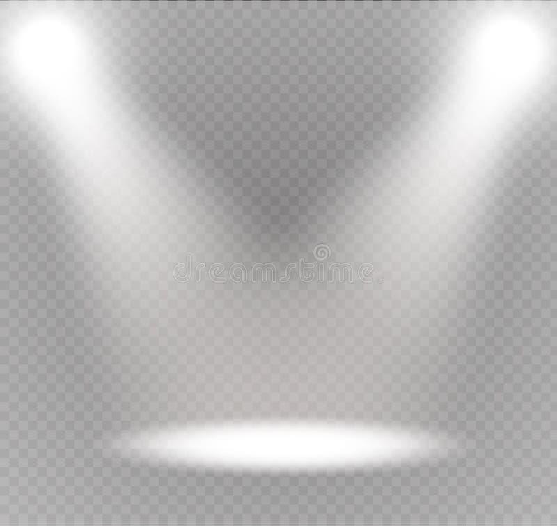 Vectorschijnwerper Lichteffect Scèneverlichting, transparante gevolgen voor een plaid donkere achtergrond royalty-vrije illustratie