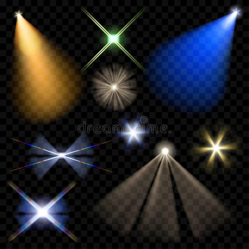 Vectorschijnwerpers Verlichting van de scène Transparant licht stock illustratie
