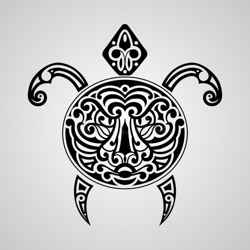 Vectorschildpad met tijgergezicht op zijn shell royalty-vrije illustratie