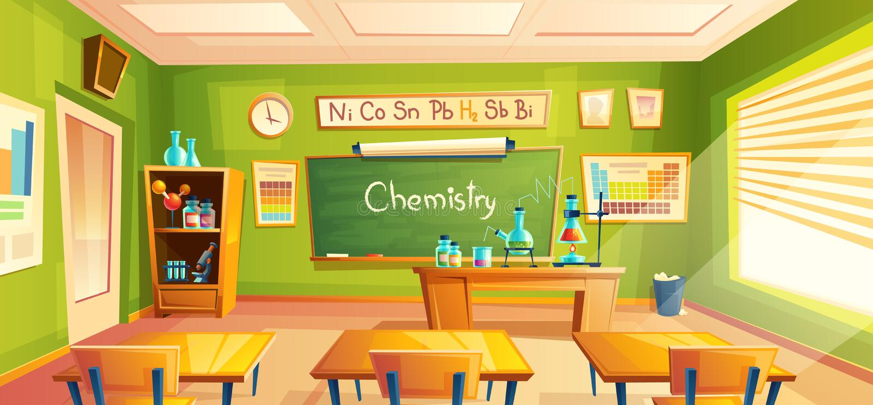 Vectorschoollaboratorium, klaslokaalbinnenland, chemieruimte Onderwijs chemische experimenten, kabinetsmeubilair stock illustratie