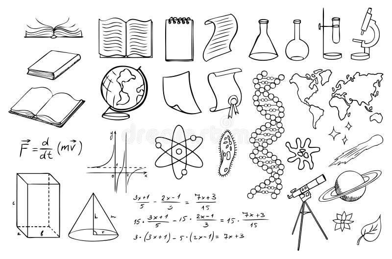 Vectorset de la Science et d'éducation illustration de vecteur
