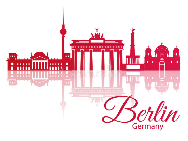 Vectorsilhouet van Berlijn, Duitsland stock illustratie