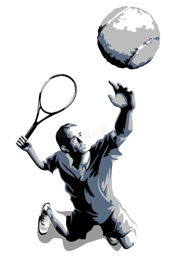 Vectorsilhouet van de Bal van de Speler van het tennis het Dienende vector illustratie