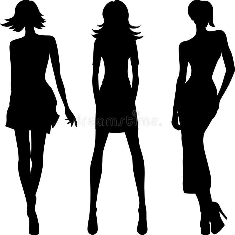 Vectorsilhouet van de hoogste modellen van maniermeisjes stock illustratie