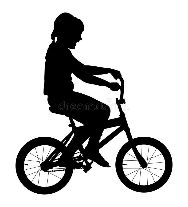 Vectorsilhouet van de meisje het berijdende fiets gelukkig jong geitje op fiets Lachende peuter royalty-vrije illustratie