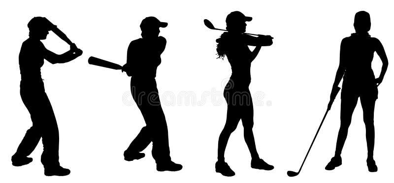 Vectorsilhouet van de vrouw stock illustratie