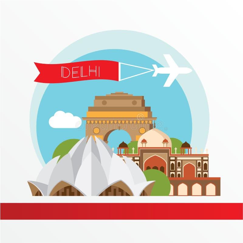 Vectorsilhouet van Delhi India De Horizon van de stad royalty-vrije illustratie
