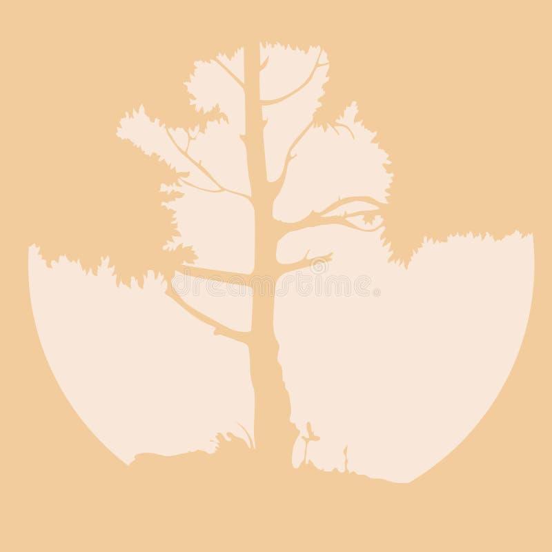Vectorsilhouet van een boom met zon