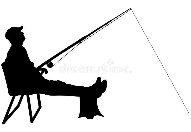 Vectorsilhouet van een mens die vist vector illustratie