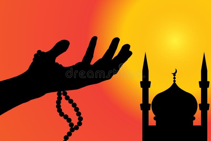 Vectorsilhouet van een moskee royalty-vrije illustratie