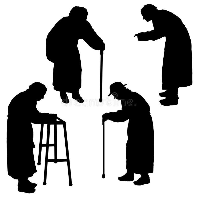 Vectorsilhouet van een oude vrouw stock illustratie