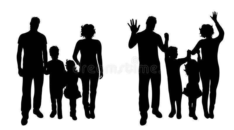 Vectorsilhouet van familie vector illustratie