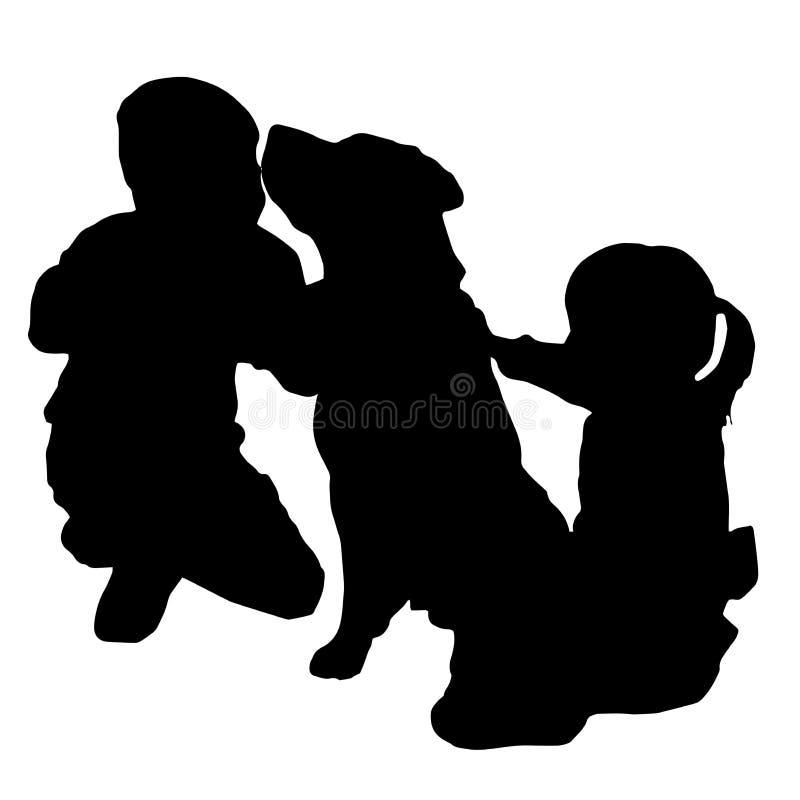 Vectorsilhouet van kinderen stock illustratie