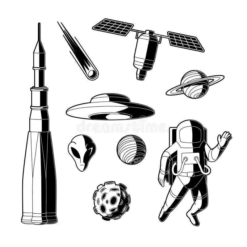 Vectorsilhouetruimte, kosmosobjecten pictogramreeks vector illustratie