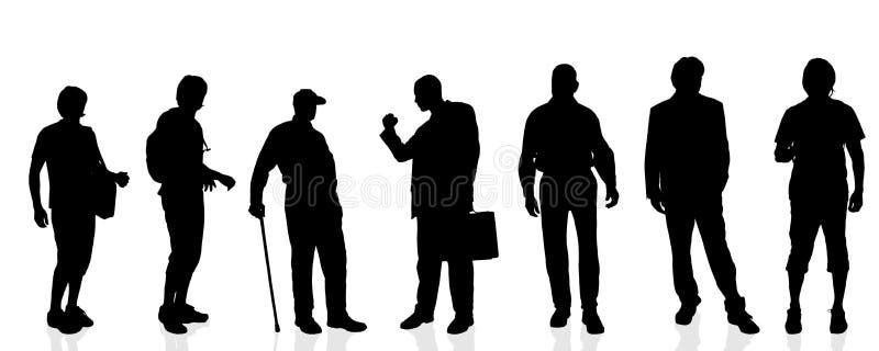 Vectorsilhouetten van de mens stock illustratie
