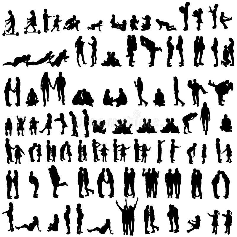 Vectorsilhouetten van familie vector illustratie