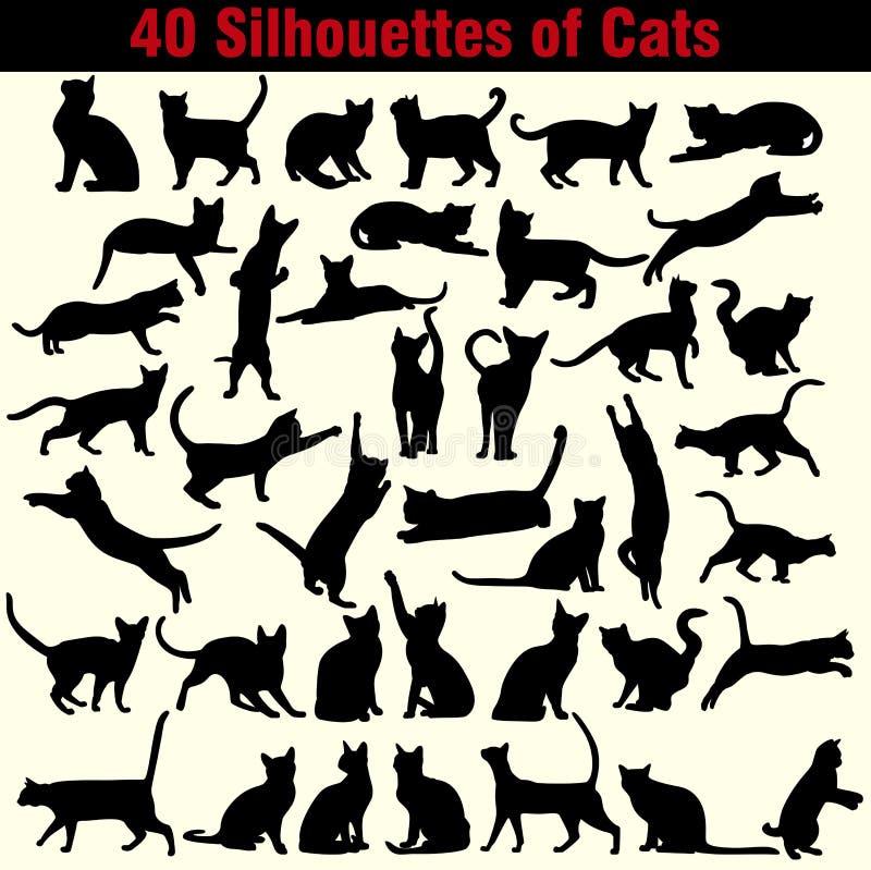 Vectorsilhouetten van katten op witte achtergrond stock illustratie
