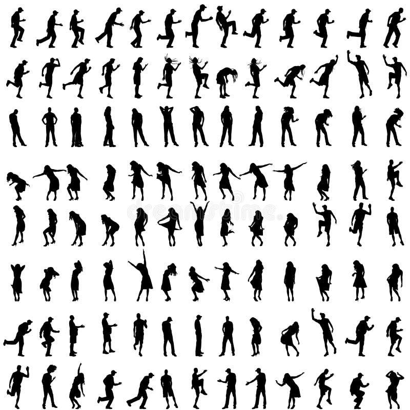 Vectorsilhouetten van mensen vector illustratie